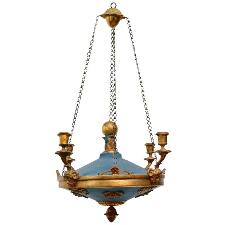 Painted and Giltwood Empire Chandelier, Baltic