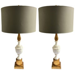 Italian Marble and Giltwood Column Urn Table Lamps, Pair