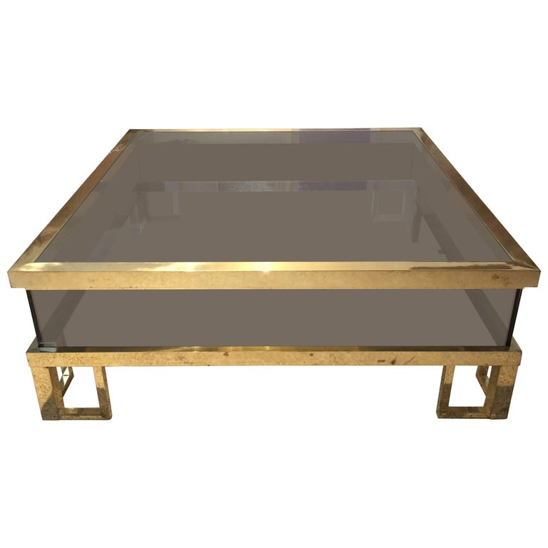 Jansen Brass Vitrine with Sliding Top Cocktail Table For Sale