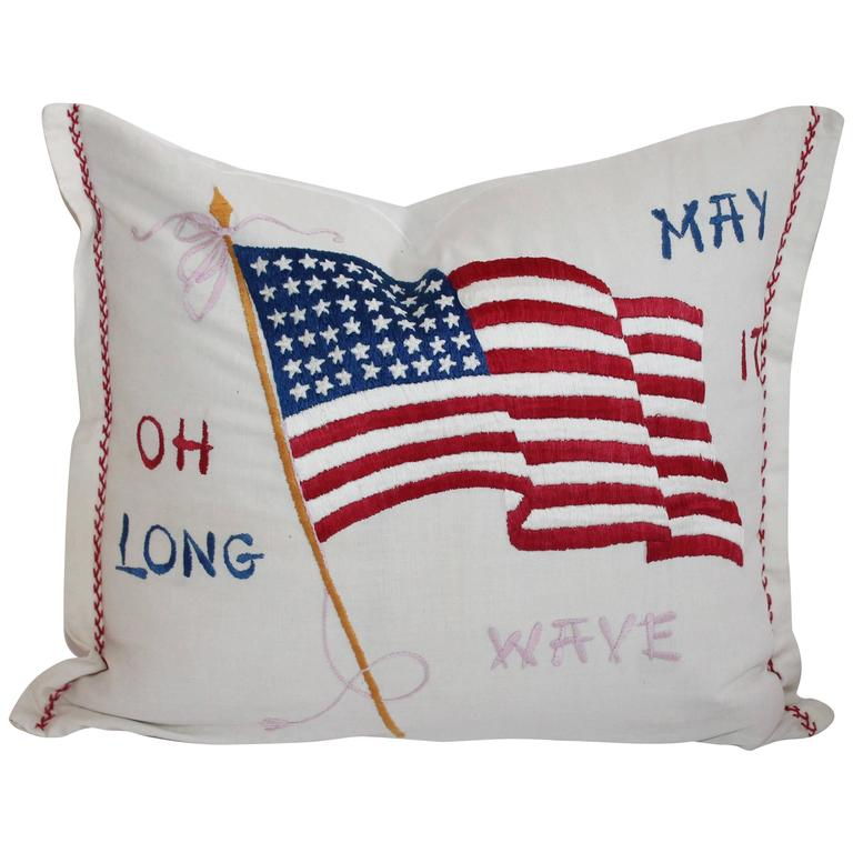 Vintage Patriotic Hand Sewn Flag Pillow 1