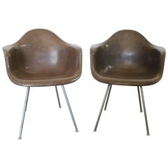Pair of Herman Miller Eames Molded Fiberglass DAX Arm Shell Chairs with H-Base