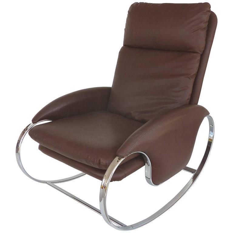 1970s Guido Faleschini Chrome Rocking Chair