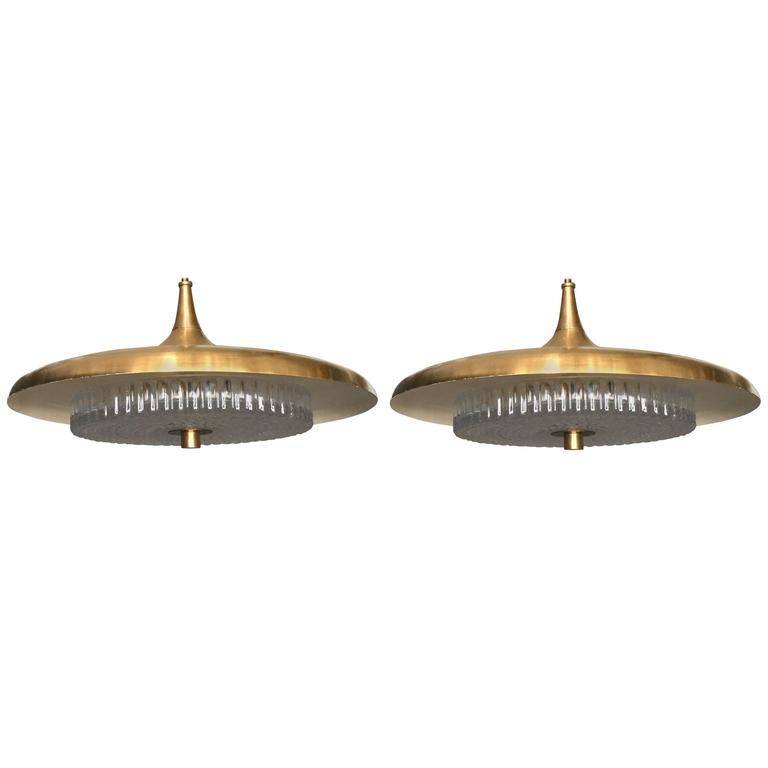 Pair of Swedish, Midcentury Pendants For Sale