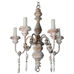 Italian Painted Wood Chandelier with Tassels
