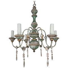 Italian Painted and Parcel-Gilt Chandelier with Wood Drops
