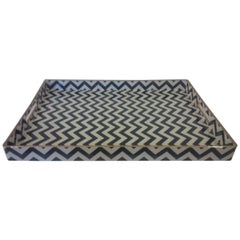 Zigzag Black and White Lacquer Tray with Gold Edge