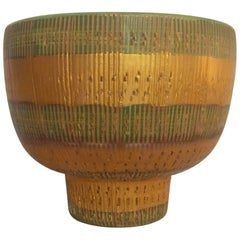 1950s, Sgrafitto Gold and Green Footed Bowl by Raymor