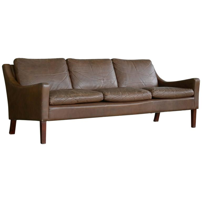 Børge Mogensen Style Brown Distressed Leather Sofa Danish, Mid Century 1