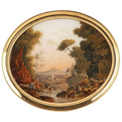 Empire Reverse Glass Painting with Pastoral Scene in the Taste of Jean-Baptiste