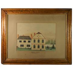 19th Century Watercolor House Dog Architectural English Naive School Folk Art