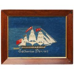 Important 19th Century Sailors Woolie Woolwork Needlework Sailing Ship Mimosa