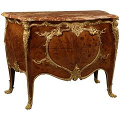 Marble Top Marquetry and Gilt Bronze Commode