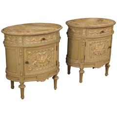 20th Century Pair of Italian Lacquered Side Tables in Louis XVI Style