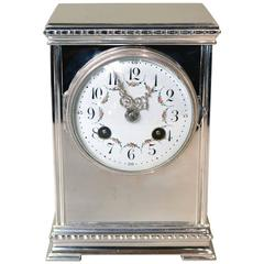 Silver Plated Striking Mantel Clock