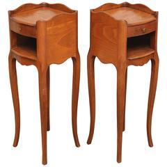 Pair of Slim Cherrywood Bedside Cabinets