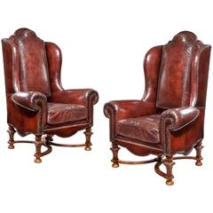 Wing Armchairs in Leather