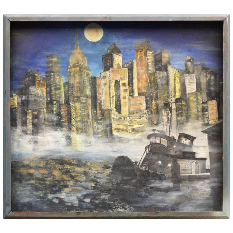 1960s NYC East River Cityscape Painting