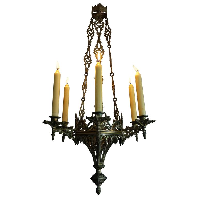 Rare late 19th century gothic revival gilt candle lamp six candle rare late 19th century gothic revival gilt candle lamp six candle chandelier for sale aloadofball Image collections
