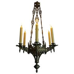 Rare Late 19th Century Gothic Revival Gilt Candle Lamp Six Candle Chandelier