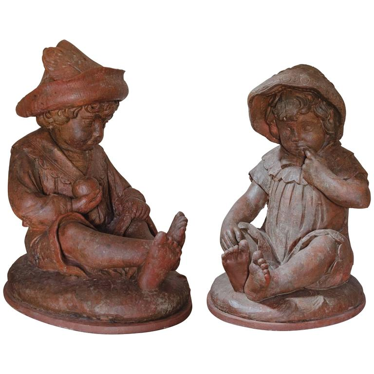 19th Century Chamotte Clay Statues