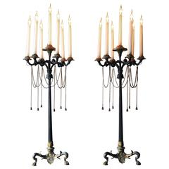 Pair of Neo-Grec Gilt Bronze Seven-Light Candelabras by Elkington, circa 1860