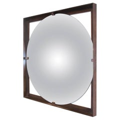 Convex Galt Mirror with Bronze Frame, Designed by Christopher Gentner