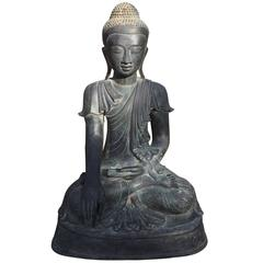 Monumental Bronze Seated Buddha with Superb Old Patina, Old Collection