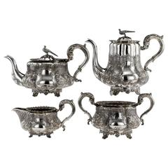 Antique Regency Solid Silver Four-Piece Tea and Coffee Set, London, circa 1835