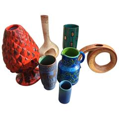 Holiday Instant Collection Seven European Mid-Century  Art Pottery Vases