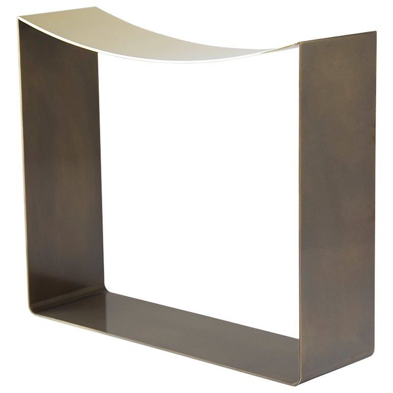 Ribbon Stool Made with Brass or Stainless Steel Body, Modern and Minimal Seating