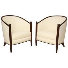 Pair of Beechwood Art Deco Upholstered Club Chairs, France, circa 1930