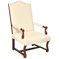 French Walnut Louis XIV Armchair Upholstered in Ivory Linen, France, circa 1770