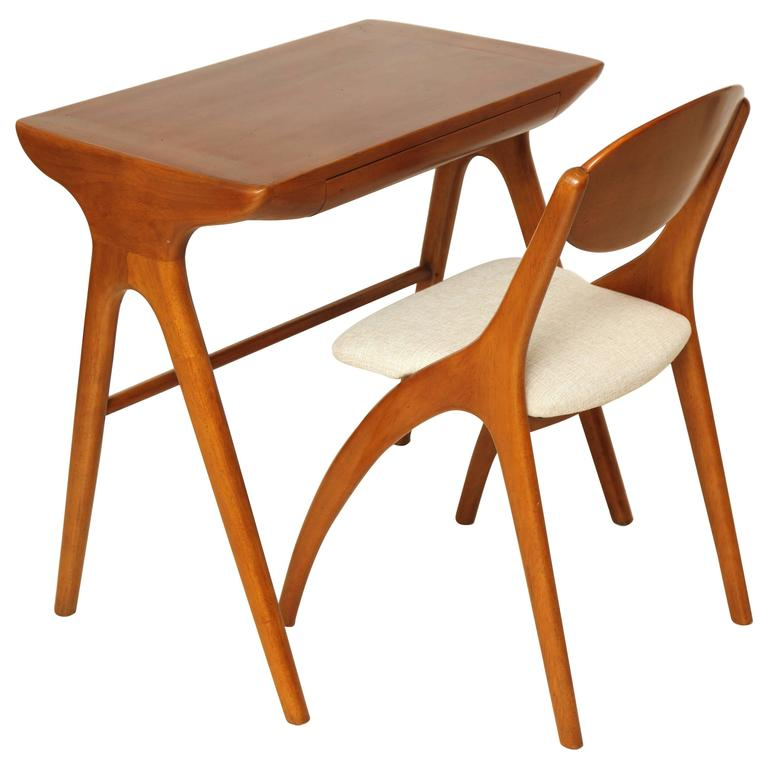 Small Mid Century Cherry Wood Desk With Matching Chair France Circa 1960 For