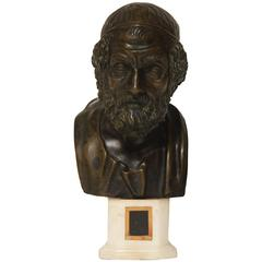 19th Century Italian Bronze Bust of Homer on Marble Socle
