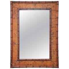 Very Sweet French Vintage Bamboo Mirror