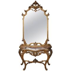 Superb French 19th Century Gilt Console and Mirror