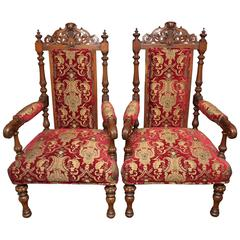 Superb Pair of 19th Century English Carved Oak Armchairs