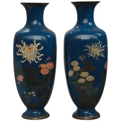Pair of 19th Century Japanese Cloisonné Square-Shaped Vases with Flaring Necks