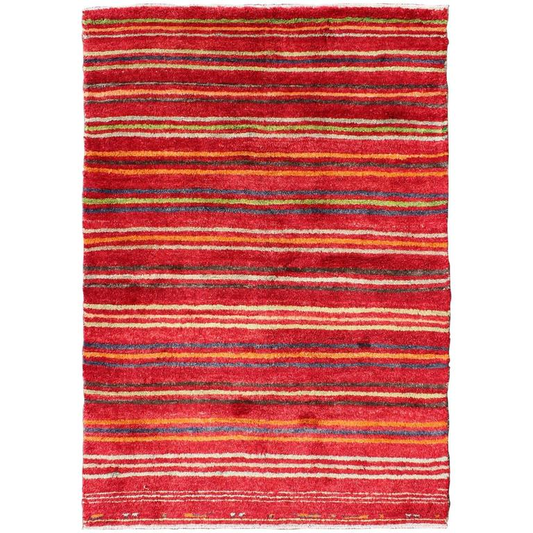 Turkish Tulu Carpet with Colorful Striped Pattern in Red, Orange, Blue, Green