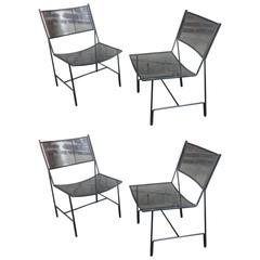 "Mathieu Mategot Unique Set of Four Black Metal Chair Models ""Panamera"""