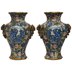 Pair of 19th Century Quadrilateral Chinese Cloisonné Tapering Vases
