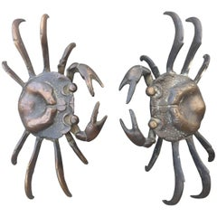 Japan Pair of Antique Hand Cast Crabs, 100 Year Old Relics
