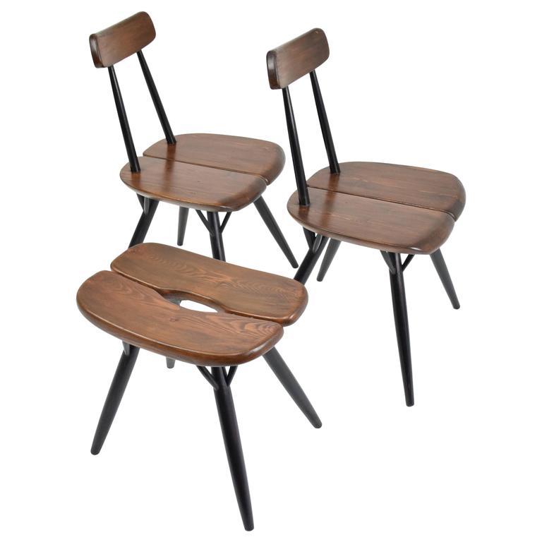 Scandinavian Mid-Century Chairs with Stool by Ilmari Tapiovaara, 1955