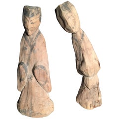China Ancient Hand-Carved Painted Wooden Human Figures Survivors, 1800 Years Old