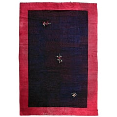 Fine Antique Chinese Minimalist Rug with Aubergine Background and Red Border