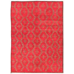 Vintage Turkish Konya Carpet with Cross Design and Bright Red Background
