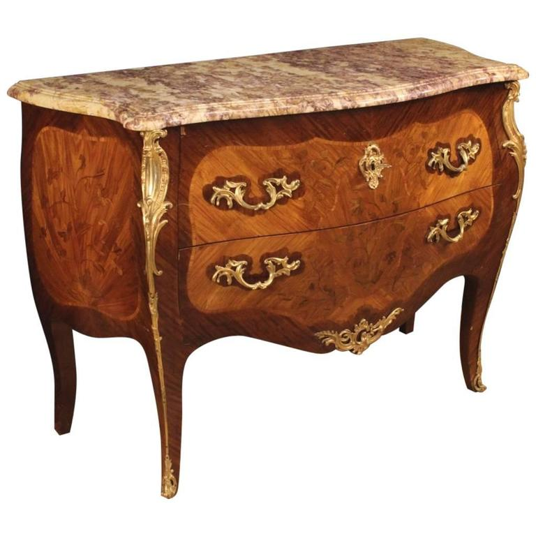20th Century French Inlaid Dresser in Louis XV Style With Marble Top For Sale
