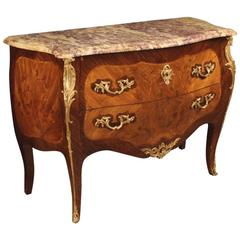 20th Century French Inlaid Dresser in Louis XV Style With Marble Top