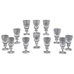 Set of 14 Steuben Baluster Crystal Water Goblets #7877