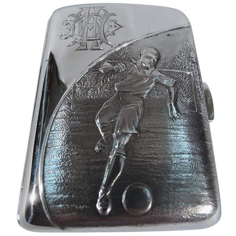 Edwardian English Sterling Silver Cigarette Case with Rugby Player